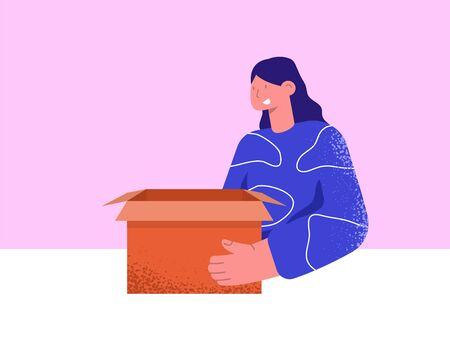Déballage. Fille ouvre la boîte. Boîte de déballage. Illustration vectorielle