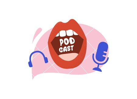 Podcast Cover art design. Creative podcast background. Vector illustration