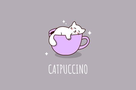 Cat and cappucino cup. Catpuccino. Cute print. Vector illustration
