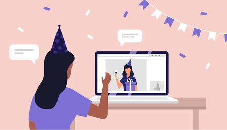 Online birthday party celebration. Self isolation. Quarantine. Friends Vector illustration