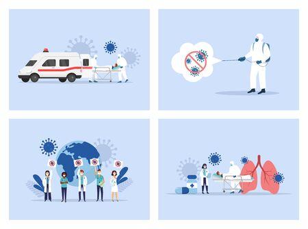 Coronavirus. Medical staff. Ambulance. Doctors and nusres Vector illustration Ilustración de vector