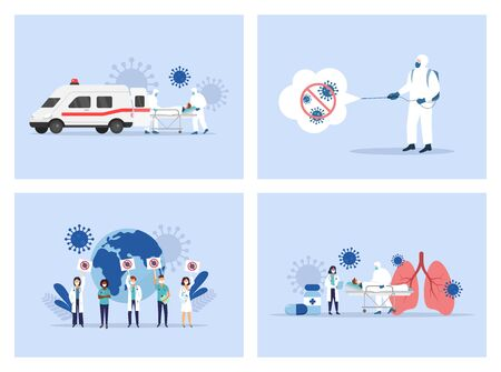 Coronavirus. Medical staff. Ambulance. Doctors and nusres Vector illustration