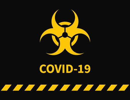 Coronavirus. Warning Yellow sign Vector illustration