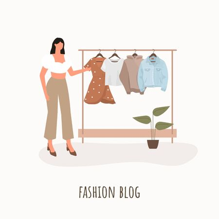 Fashion blogger. Young beautiful woman with a wardrobe closet. Vector illustration