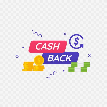 Cashback icon. Credit card, dollars and coins. Vector illustration