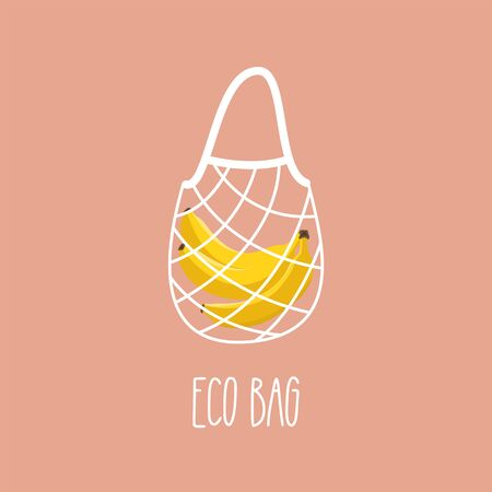 Eco bag. Reusable cotton string bag. Grocery shopping. Vector illustration
