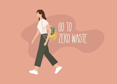 Young woman with eco bag. Go to Zero waste. Shopping bag. Vector illustration
