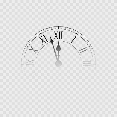 New year clock. Transparent clock icon, Isolated on white. Vector illustration