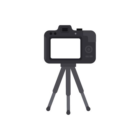 Video camera with a tripod. Isolated. Vector illustration Stock Illustratie