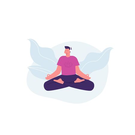 Meditation man. Yoga. Man with headphones listening guided meditation. Vector illustration Stock Illustratie