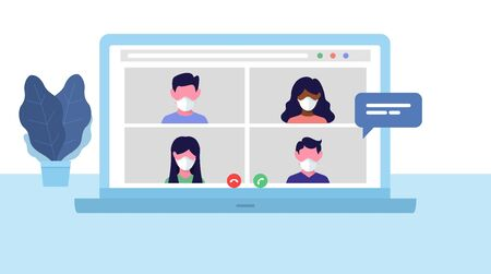 Video call. Online meeting. Remote workers Vector illustration