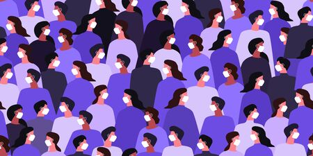 People crowd wearing medical masks. Coronavirus. Vector illustration