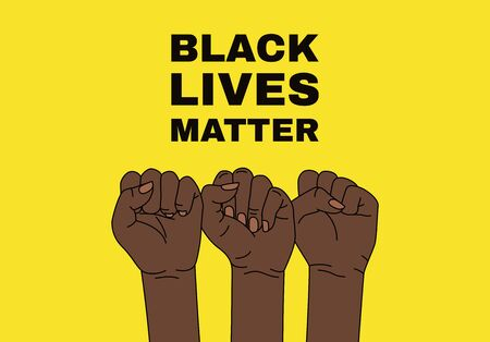 Black lives matter. Hands on yellow background. Vector illustration