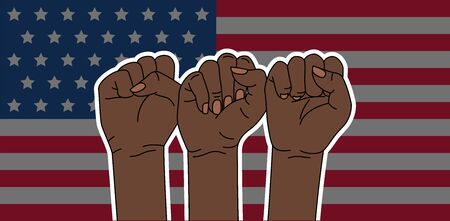 USA flag. Black lives matter. Strong fists. American flag. Vector illustration