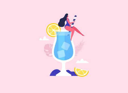 Summer girl sitting in the cocktail. Summer party fun. Vector