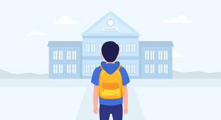 School boy going to school. Back to school. Vector