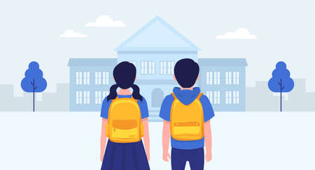Back to school. School students. School building. Vector