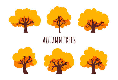 Autumn trees set. Yellow tree, flat style. Isolated icons. Vector