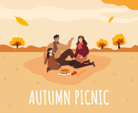 Family picnic in Autumn. Apple pie. Cozy autumn picnic. Vector Stock Illustratie