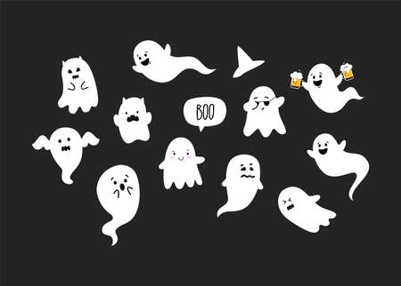 Cute and funny Ghosts. Halloween party. Ghosts doodle. Vector Vettoriali