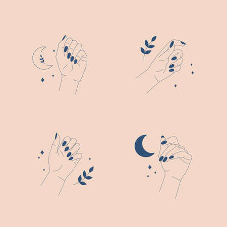 Line art  templates. Beautiful female hands. Abstract minimal icons. Vector