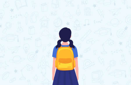 School student girl. Back view. Yellow backpack. Vector Stock Illustratie