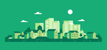 Green city. Ecology. Houses background. Flat minimal style. Vector Stock Illustratie