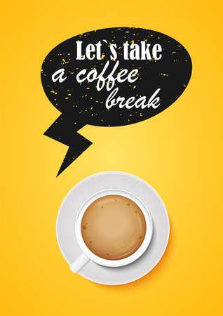 Let s take a coffee break. Cappuccino cup, top view. Yellow banner. Archivio Fotografico