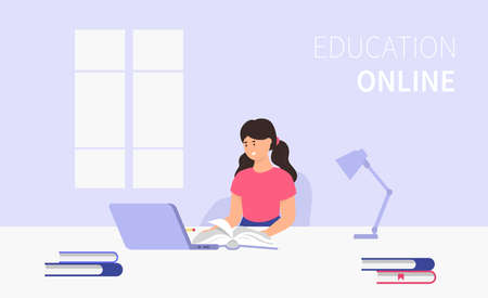 Education online. Elementary school student doing homework. Laptop, books. Vector