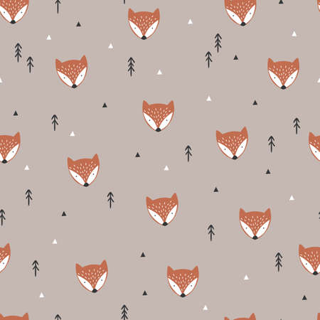 Cute fox seamless background. Textile design. Hand drawn. Forest and foxes. Vector Stock Illustratie