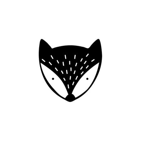 Fox head. Black and white . Hand drawn. Isolated. Vector