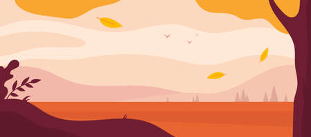 Autumn landscape background. Simple flat minimal wallpaper. Vector