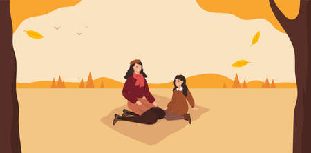 Cute autumn picnic. Mom and daughter. Fall forest. Vector