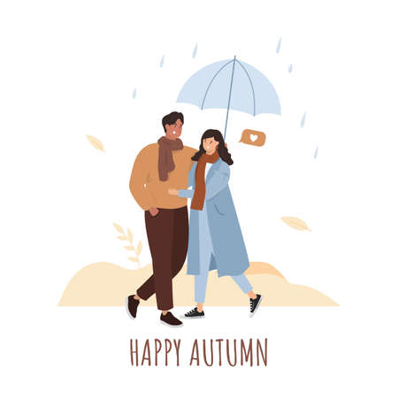Happy autumn. Couple walking with umbrella. Rain.