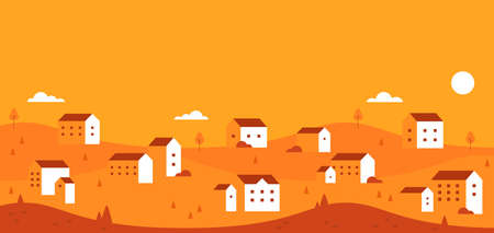 Autumn backgroud. Flat nature landscape. Horizontal banner. Vector