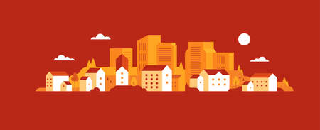 Fall. Autumn. Cute houses background. Flat style. Vector