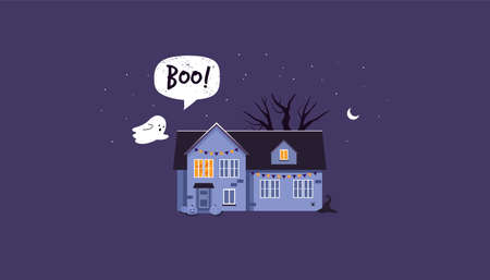 Halloween house with a ghost. Boo. night scene. Flat style.