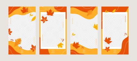 Social media stories templates. Autumn background. Vector Vettoriali
