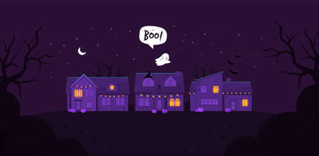 Halloween night houses. Cute houses. Ghost. Flat style. Vector Stock Illustratie