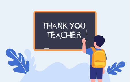 Thank you teacher. Teachers day. Elementary student writing on chalkboard. Schoolboy. Vector Stock Illustratie