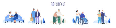 Elderly care. Old people. Aged seniors nurse care. Seniors. Vector Stockfoto - 154717732