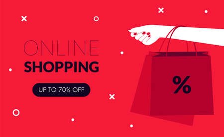 Online shopping sale. Black friday. Women hand holding shopping bags. Vector Stock Illustratie