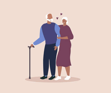Happy grandparents in love. Eldery couple. Seniors. Vector