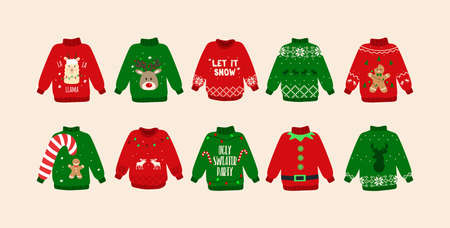 Christmas Ugly sweaters set. Cute sweater doodles. Isolated. Vector Stock Illustratie