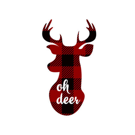 Oh deer. Christmas printables. Red checkered background. Vector Stock Illustratie