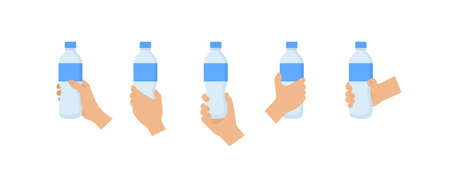 Hand holding bottle of water. Hands with bottle. Vector