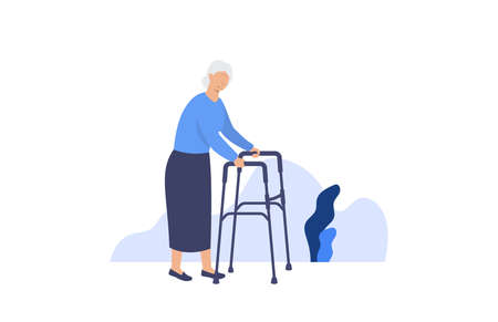 Senior woman. Elderly old woman walking. Vector