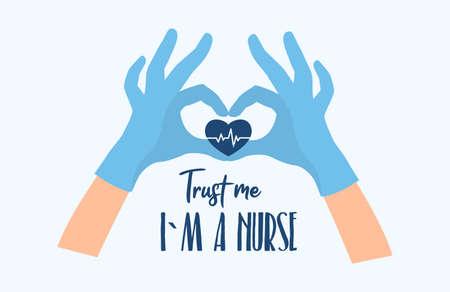 Trust me I am a Nurse. Doctor s hands. Vector Vettoriali