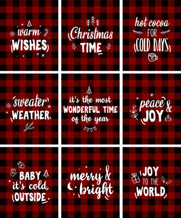 Christmas printables. Red plaid background. Greeting card, invitation design elements. Vector Vettoriali