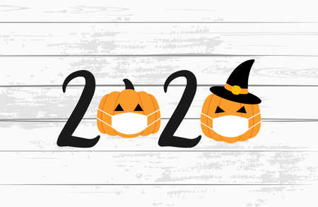2020 Halloween printable. Pumpkins with medical masks. Halloween pumpkins. Vector